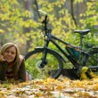 Beauty girl with bike. — Stock Photo #4074698