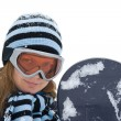 Young girl with snowboard. — Stock Photo