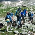 Hiking in mountain wally. — Stock Photo