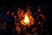 Near campfire in forest. — Stock Photo