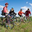 Stock Photo: A group of four adults on bicycles in the countryside.