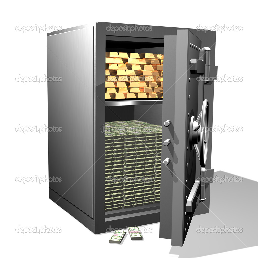 Gold ingots and money in the safe — Stock Photo #4086491