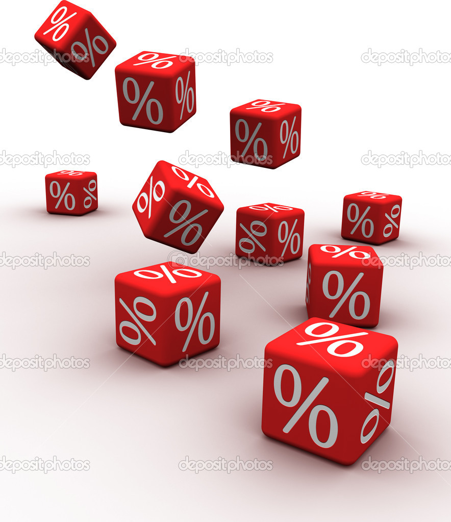 Symbols of percent on falling red cubes.   Stock Photo #4086522