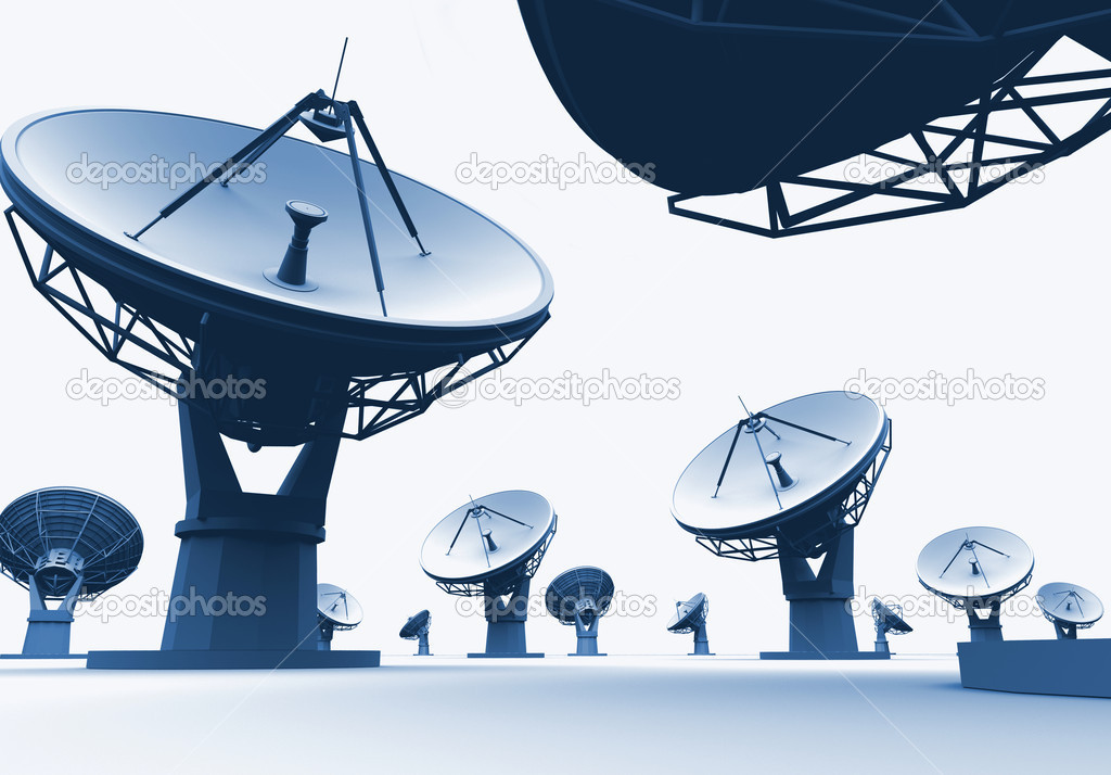The radiotelescopes on white background  — Stock Photo #4086555