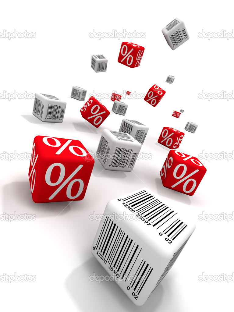 Symbols of percent and bar-codes on cubes — Stock Photo #4086602