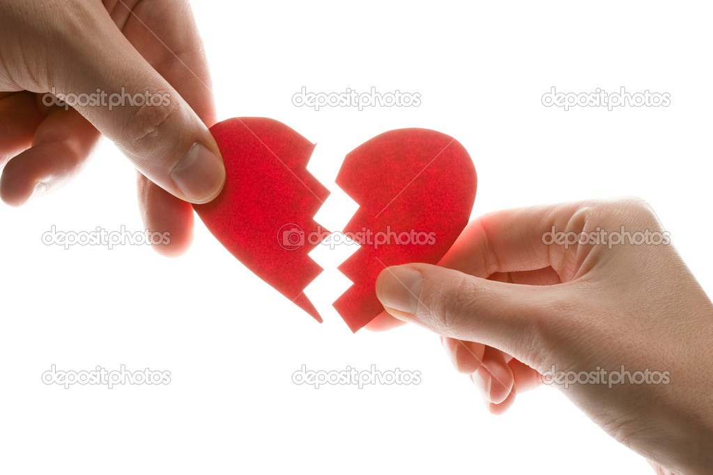 Female and man's hands with broken heart — Stock Photo #4283412