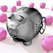 Stock Photo: Steel piggy bank