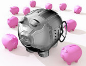 Steel piggy bank — Stock Photo