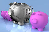 Steel piggy bank — Stock Photo
