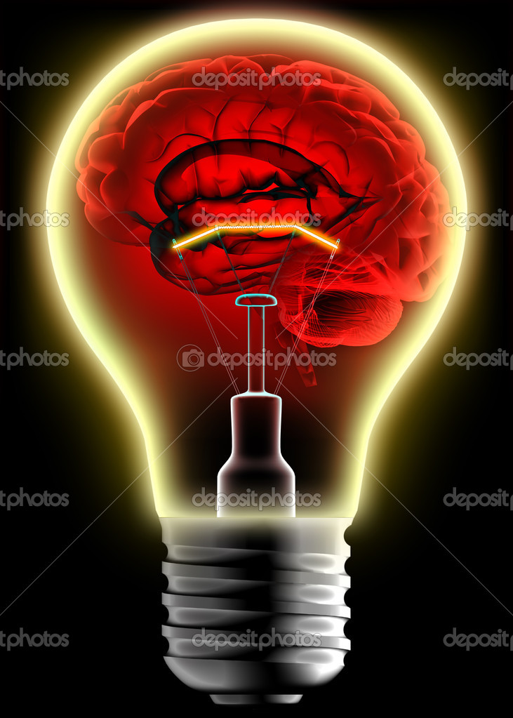 Human brain in the lightbulb — Stock Photo #4873880