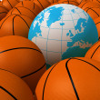 Balls and globe — Stock Photo