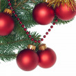 Fir Tree Branch With Red Christmas Balls — Stock Photo #3960485