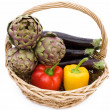 Basket With Artichokes, Peppers And Eggplants — Stock Photo
