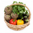 Stock Photo: Basket With Fresh Vegetables