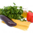 Spaghetti,Eggplant,Pepper,Parsley And Oil - Stock Photo
