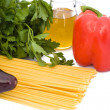 Spaghetti, Oil And Vegetables - Stock Photo