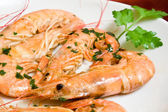 Prawns With Garlic - Closeup — Stock Photo