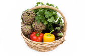 Basket With Fresh Vegetables — Stock Photo