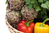 Artichokes And Peppers - Closeup — Stock Photo