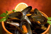 Closeup Of Mussels Soup — Stock Photo