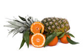 Pineapple And Tangerines — Stock Photo