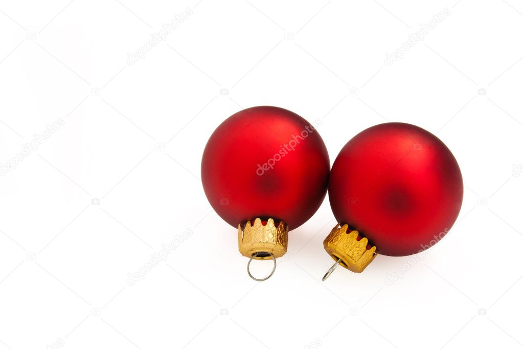 Christmas Decorations - Red Christmas balls isolated on white background. — Stock Photo #4487782