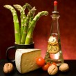 Still Life With Asparagus, Cheese And Olive Oil — Stock Photo