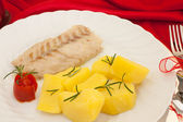 Plate With Fish And Potatoes — Stock Photo