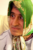 Carnival Portraits - Man Dressed Up In Old Housewife — Stock Photo