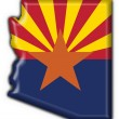Arizona (USA State) button flag map shape - Stock Photo