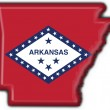 Arkansas (USA State) button flag map shape — Stock Photo #3950574