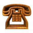 Phone symbol in wood - 3D — Stock Photo