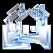 House Icon in glass - 3d - Stock Photo