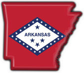 Arkansas (USA State) button flag map shape — Stock Photo