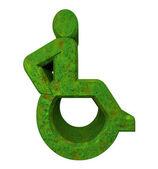 Universal wheelchair symbol in grass (3d) — Stock Photo