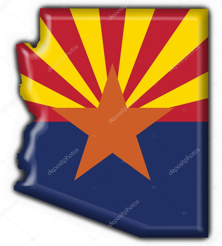 Arizona (USA State) button flag map shape - 3d made — Stock Photo #3950571