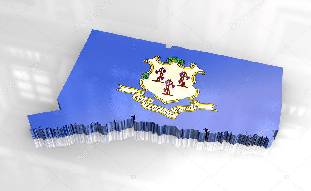 3d 作-康涅狄格州旗地图– 图库图片