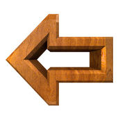 Arrow symbol in wood - 3D — Stock Photo
