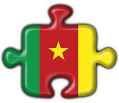 Cameroon button flag puzzle shape — Stock Photo