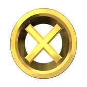 Ko tick in gold isolated - 3D — Stock Photo