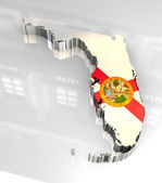 3d made Flag map of Florida — Foto Stock