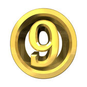 3d número 9 em ouro — Foto Stock
