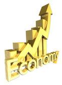 Economy - Statistics graphic in gold — Stock Photo