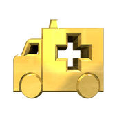 Ambulance symbol in gold - 3d — Stock Photo