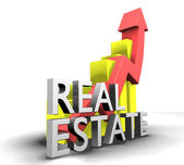 Statistics graphic with real estate word — Stock Photo