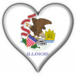 Illinois (USA State) button flag heart shape — Stok fotoğraf