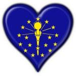 Indiana (USA State) button flag star shape — Stock Photo