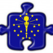 Indiana (USA State) button flag puzzle shape — Stock Photo