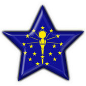 Indiana (USA State) button flag star shape — Stock Photo