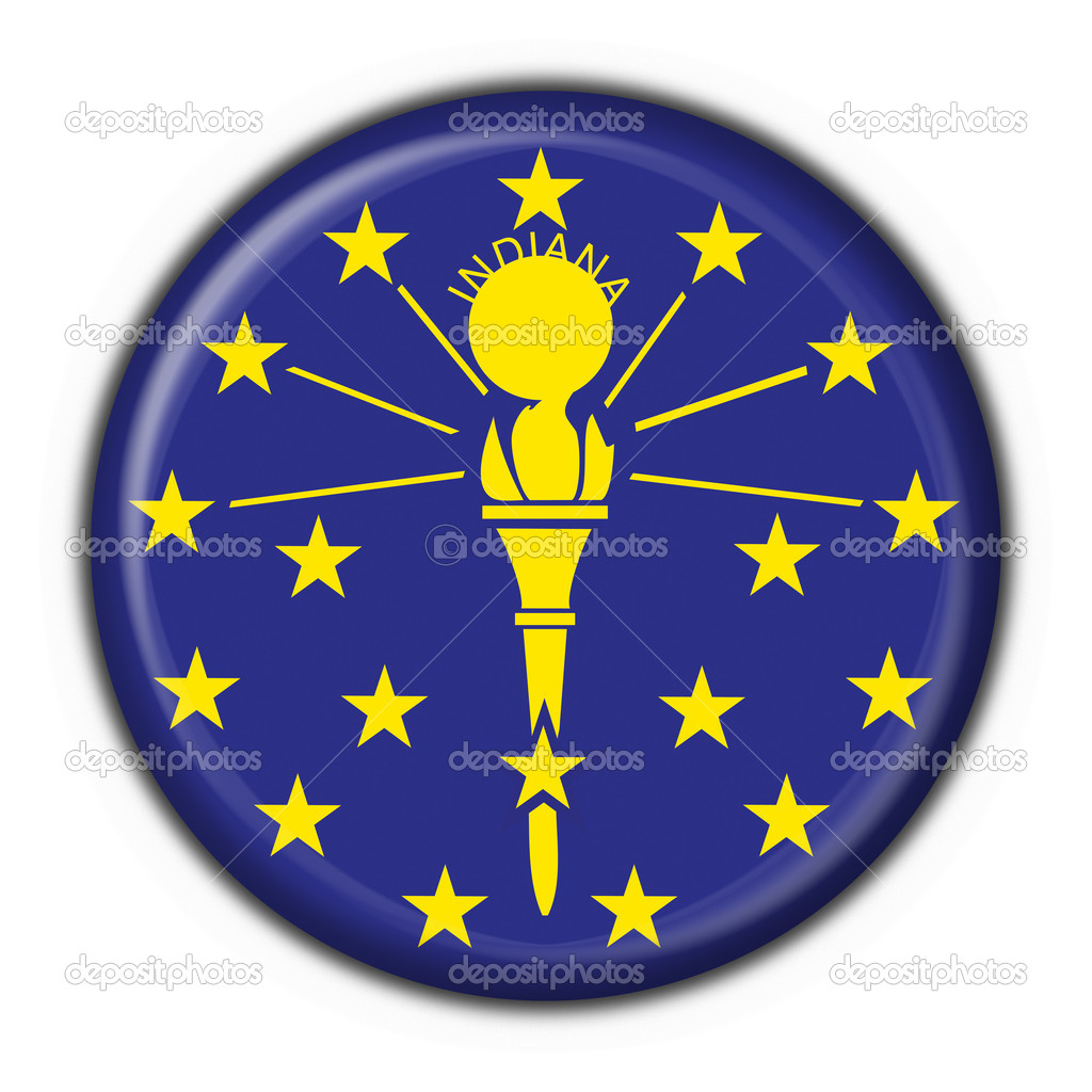 Indiana (USA State) button flag round shape - 3d made — Stock Photo #5107078